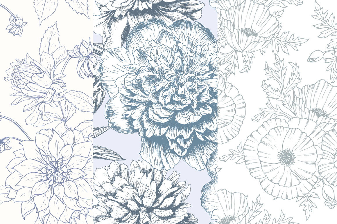 Hand Drawn Floral Vector Patterns example image 6