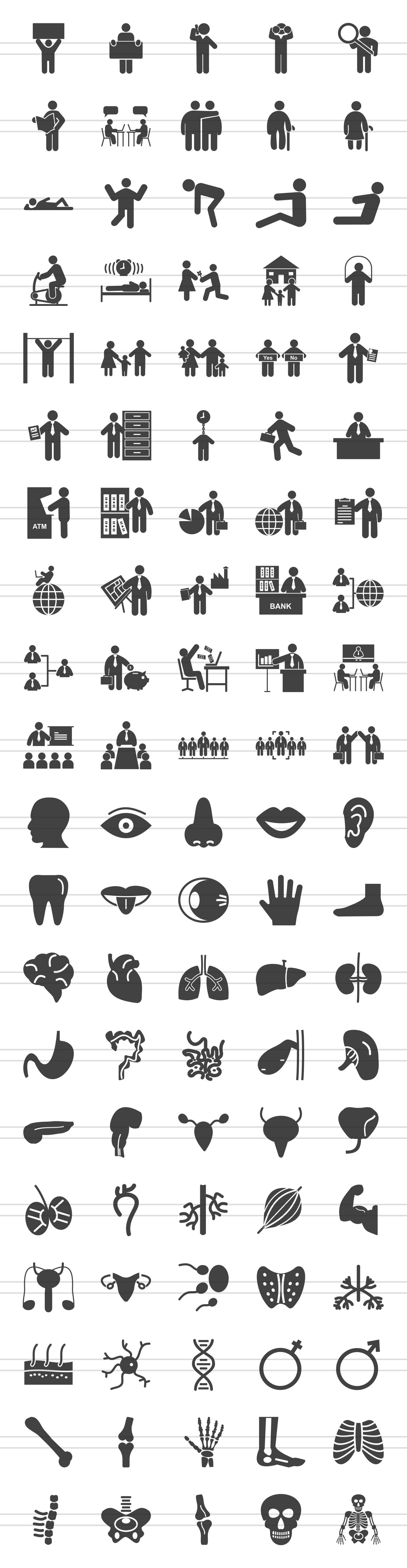 100 Humans & Anatomy Glyph Icons example image 2