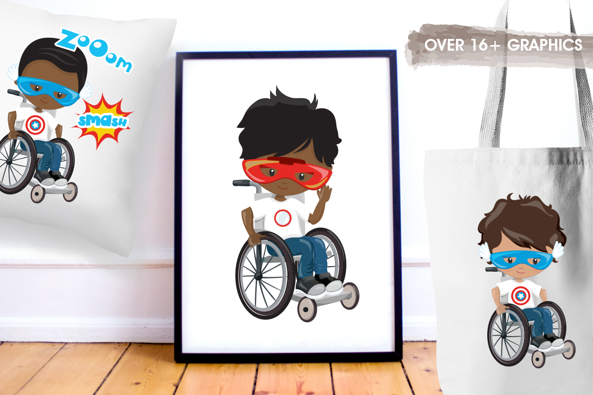 Superhero in wheelchair graphic and illustrations example image 4