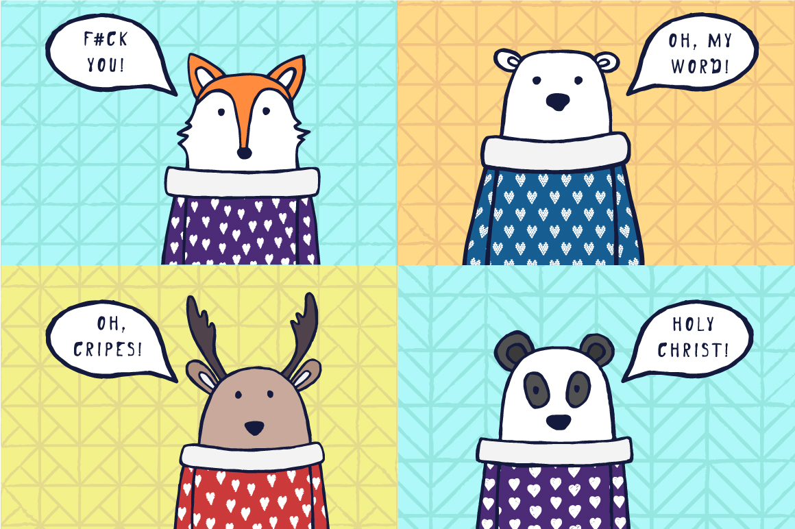 Cute animals. Funny hand drawn illustrations example image 3