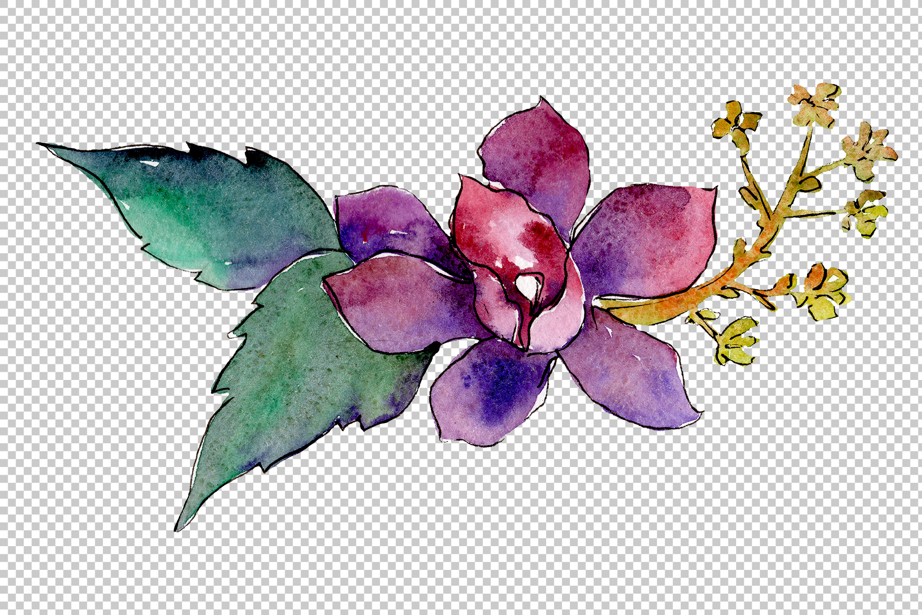Bouquet of tropical colorful flower PNG watercolor example image 4