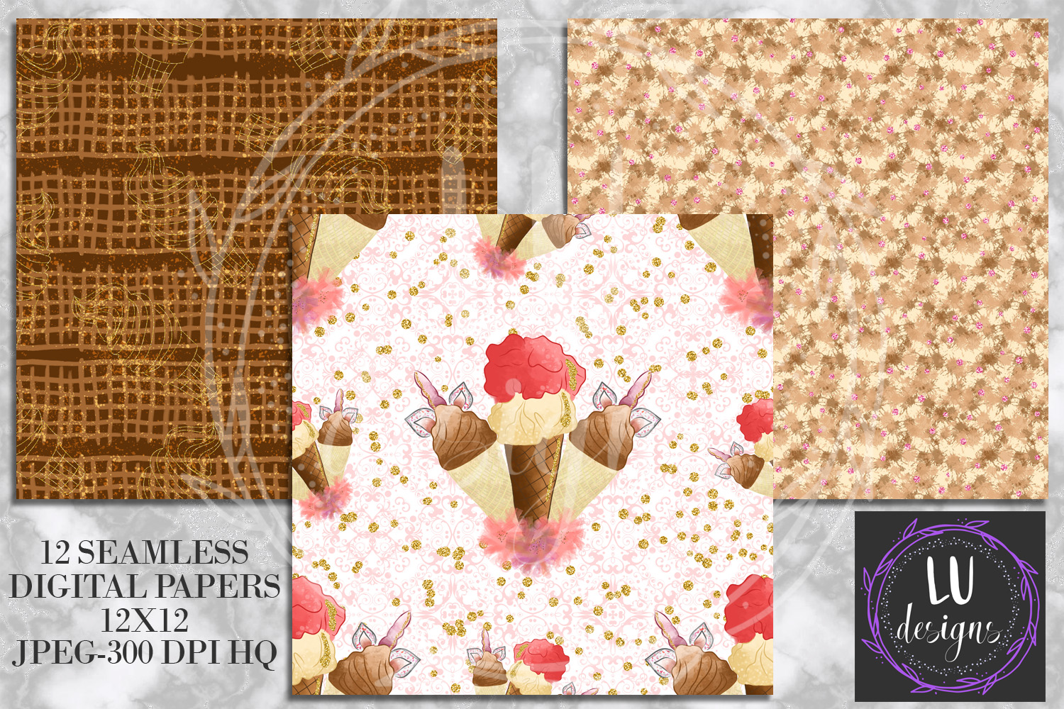 Ice Creams Digital Papers, Summer Seamless Patterns, Dessert Backgrounds example image 2