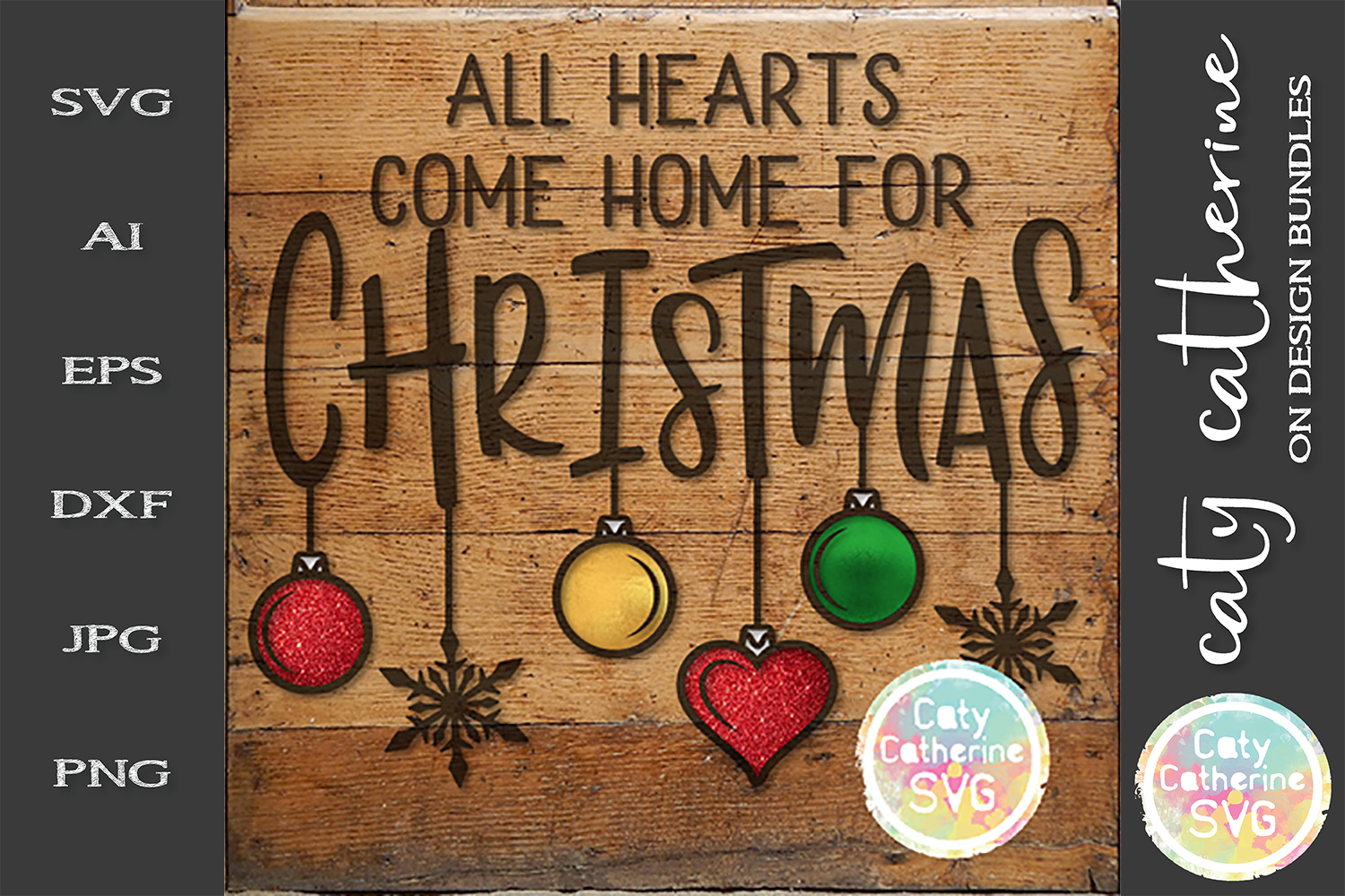 All Hearts Come Home For Christmas SVG Cut File example image 1