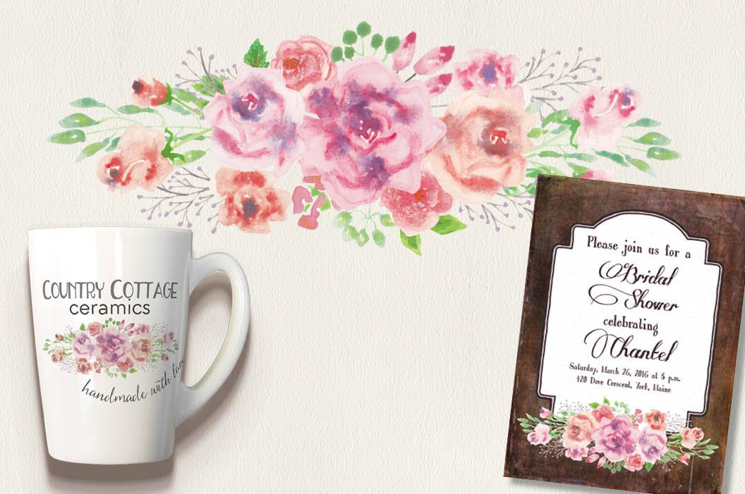 Watercolor clip art bundle: ice cream roses example image 6