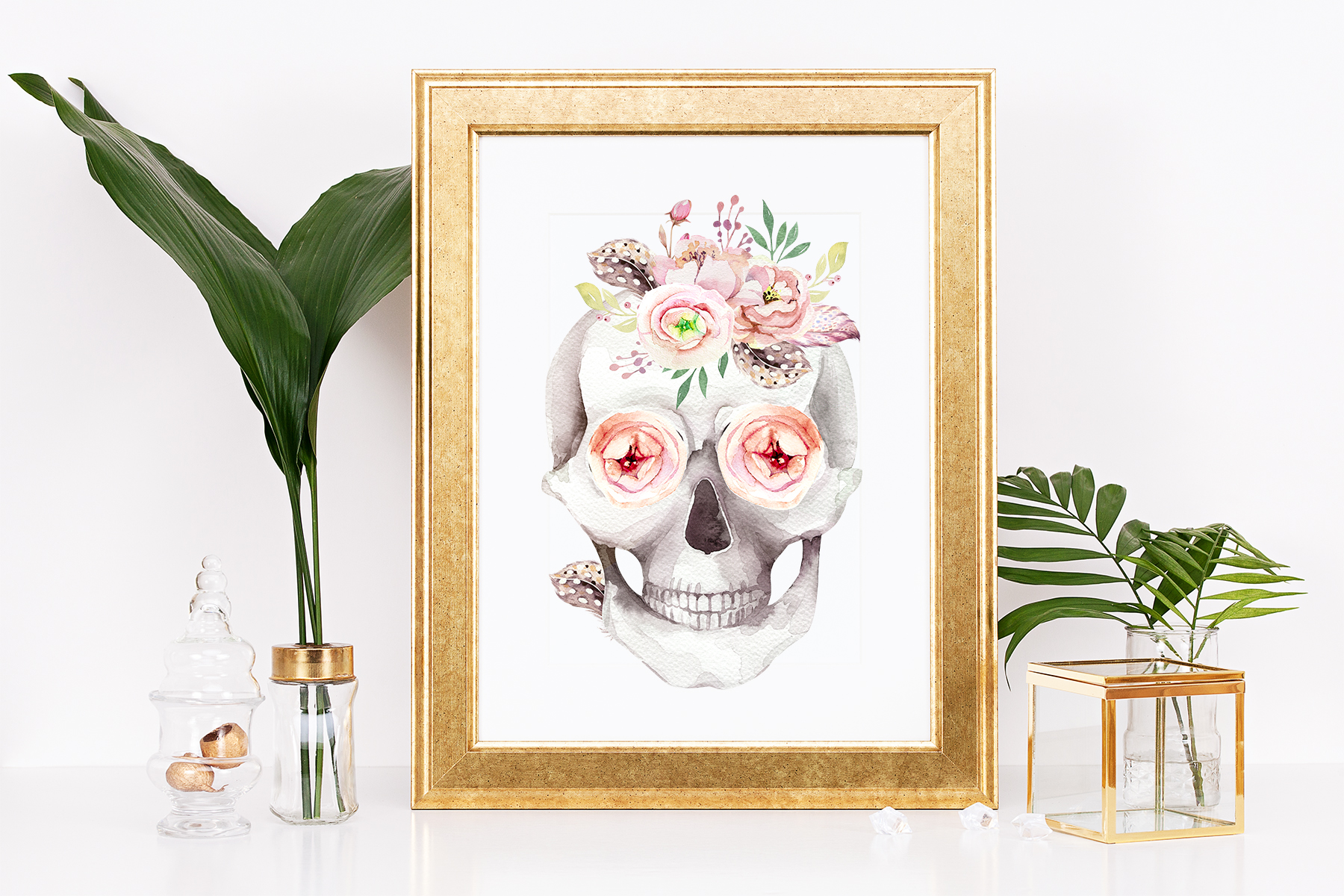 Day of The Dead. Watercolor set. example image 8