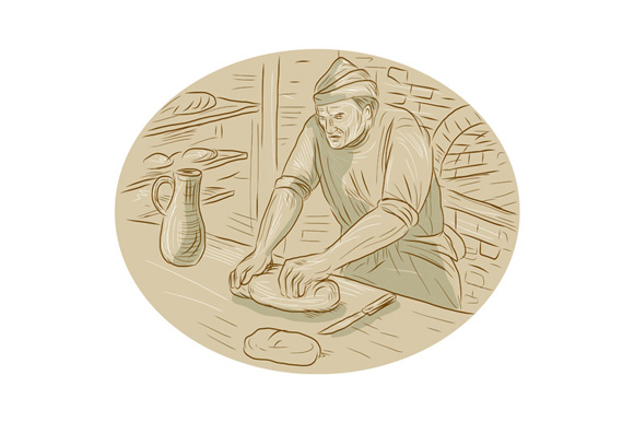Medieval Baker Kneading Bread Dough Oval Drawing example image 1