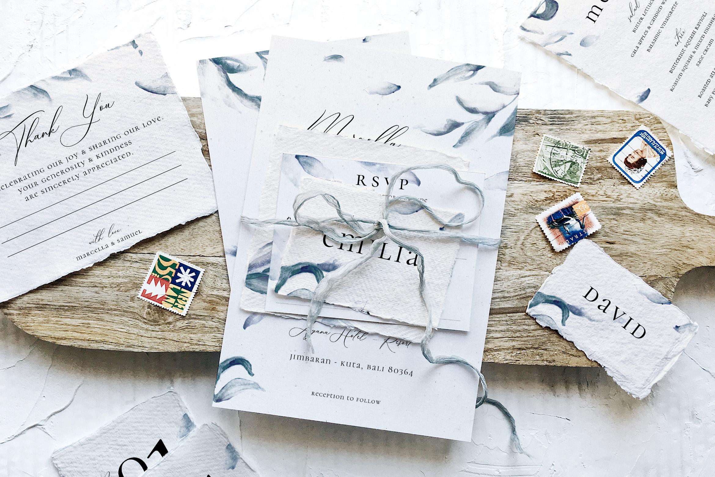 Elegant Blue Watercolor Sprig Wedding Suite example image 1
