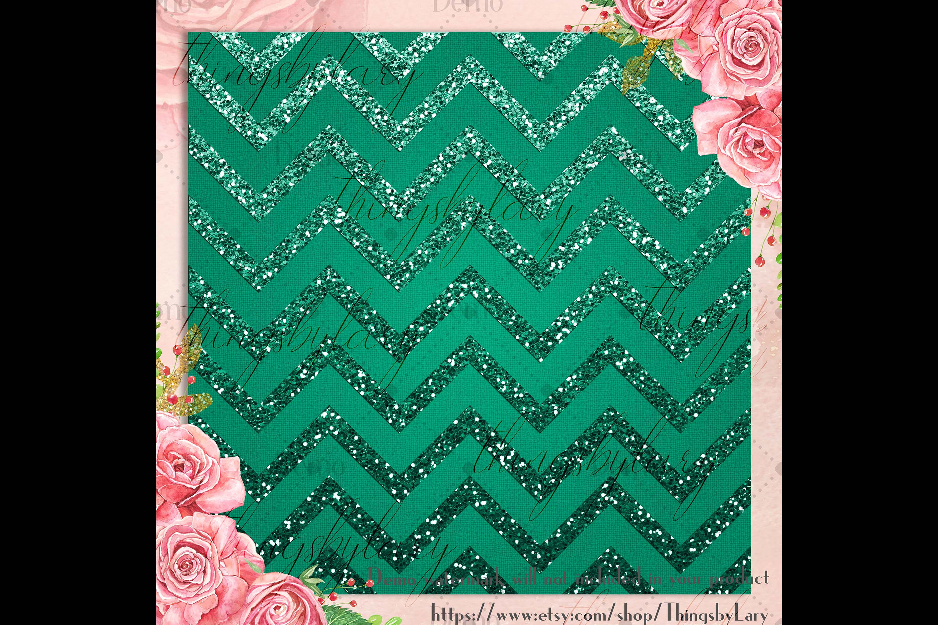 16 Red and Green Glitter Christmas Printable Digital Papers example image 4