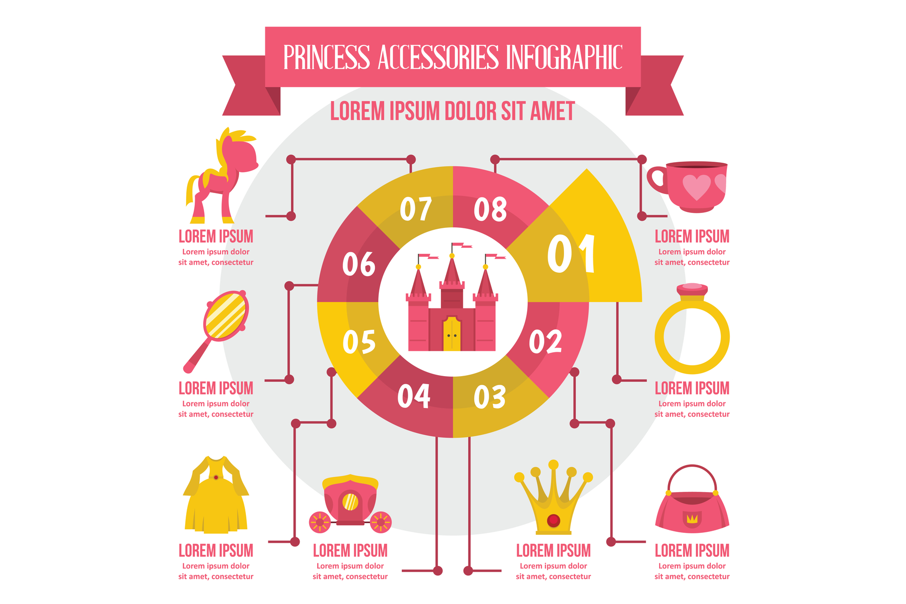 Princess accessories infographic, flat style example image 1