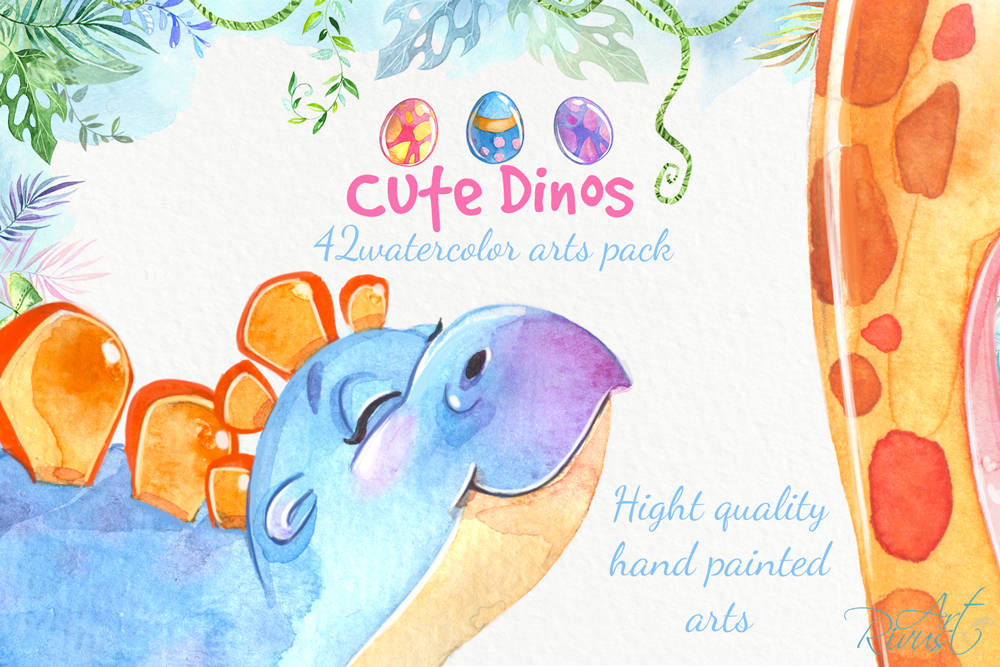 Dinosaurs, cute dino's baby watercolor clipart pack example image 3