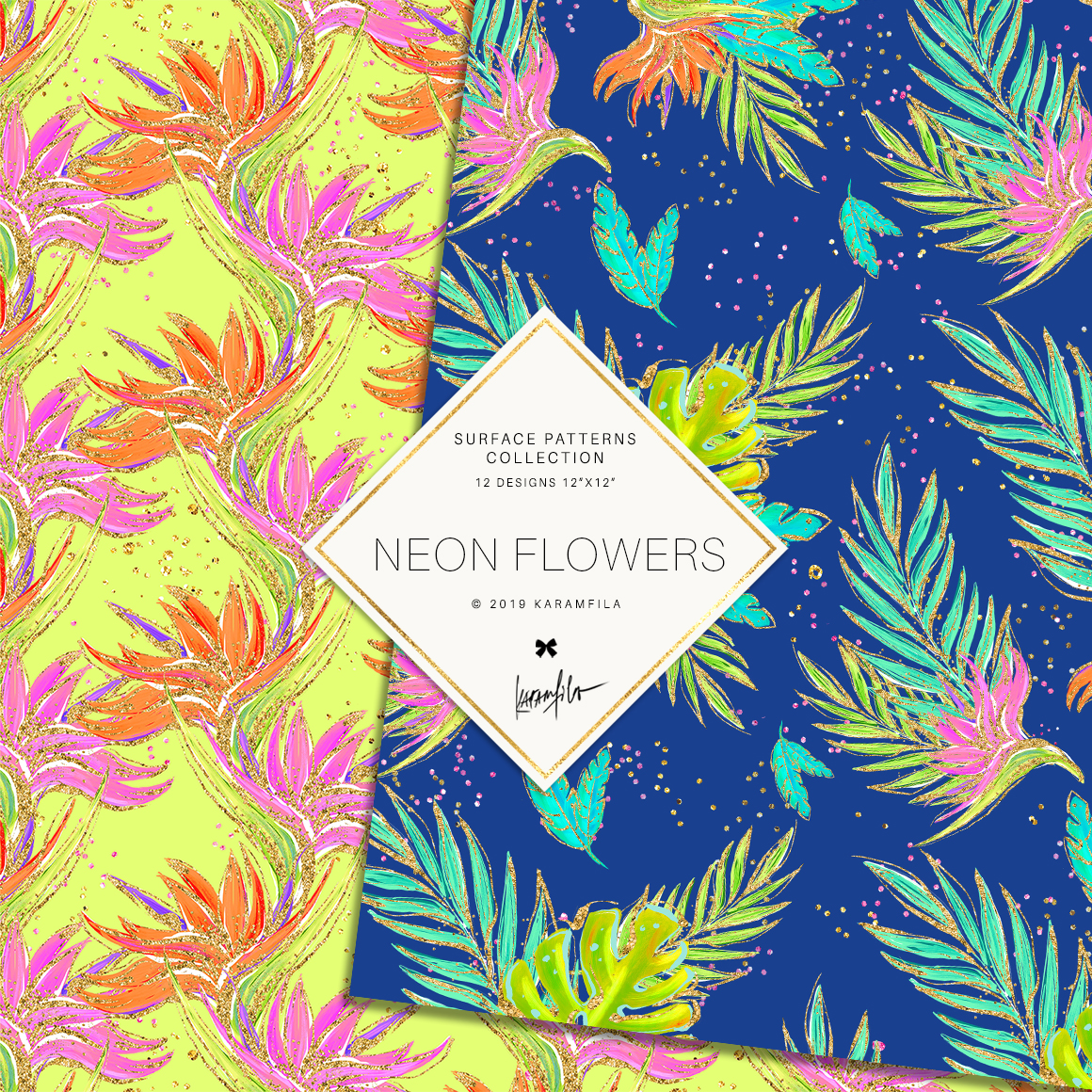 Neon Tropical Digital Paper, Tropical Floral Patterns example image 3