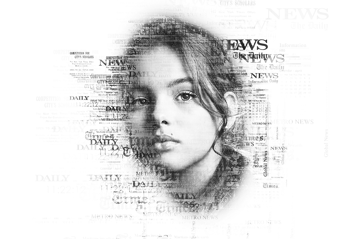 Newspaper Text Photoshop Action example image 3