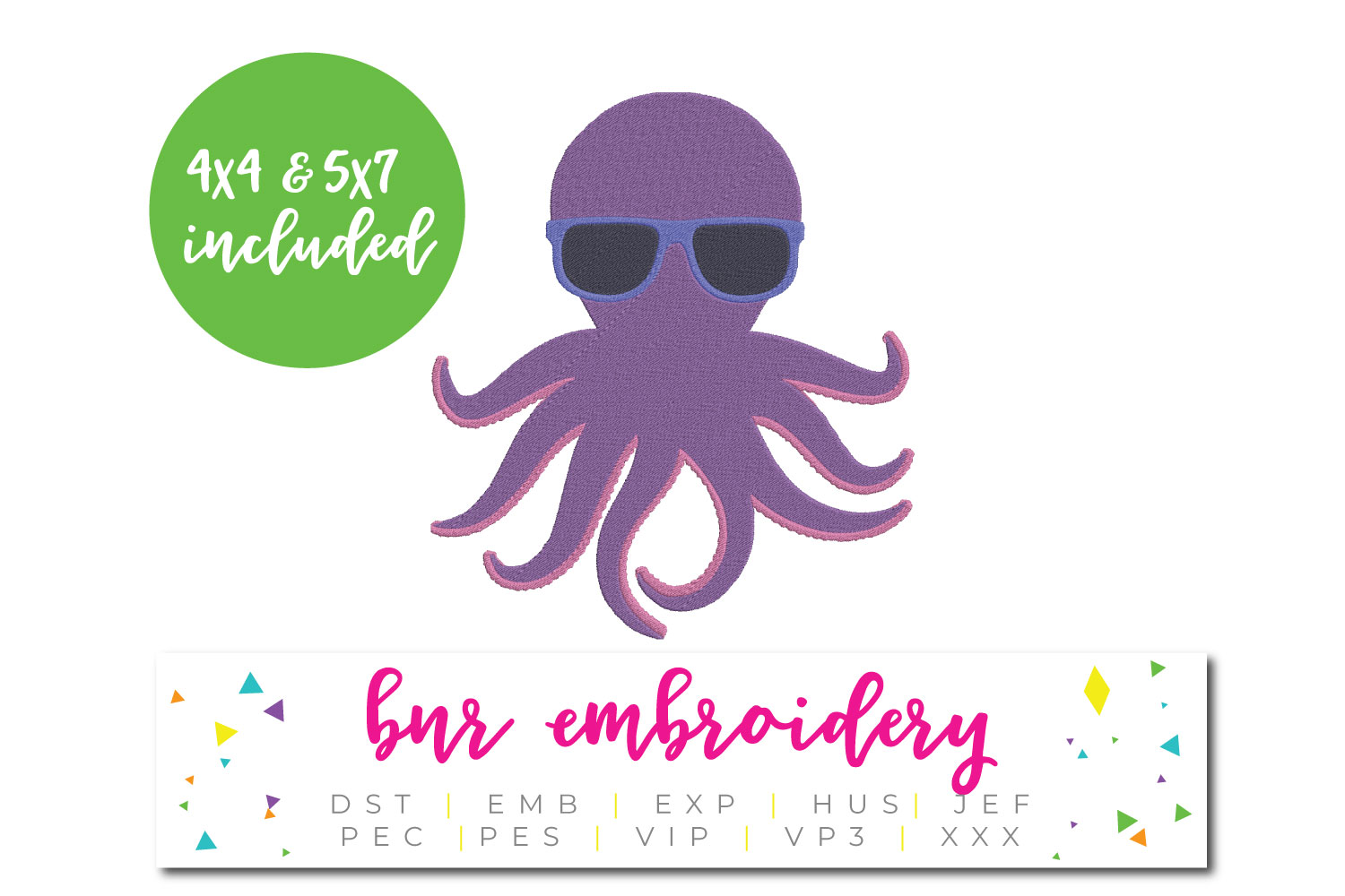 Octopus Machine Embroidery Design, Summer Embroidery example image 1