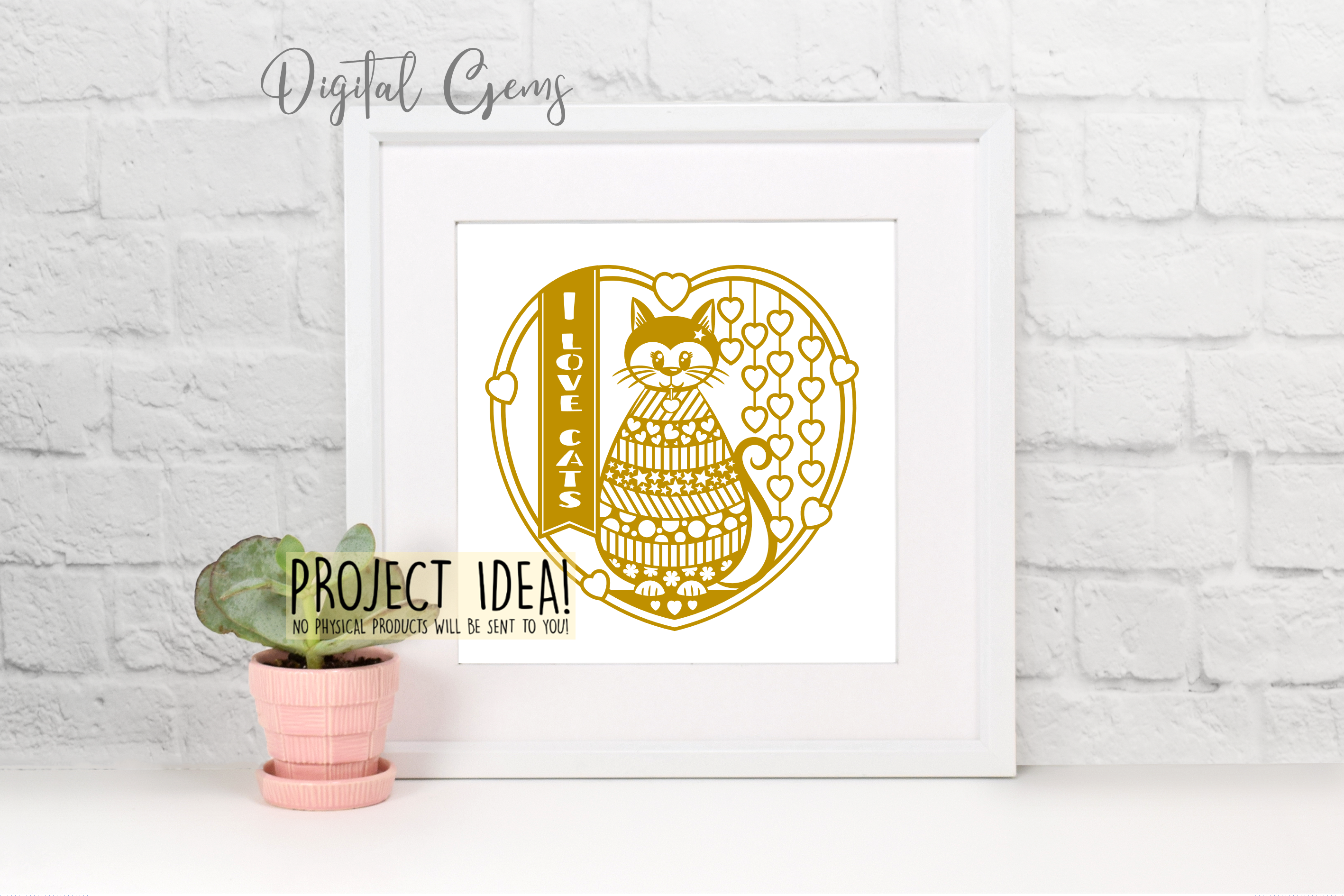 Cat paper cut design. SVG / DXF / EPS / PNG files example image 5