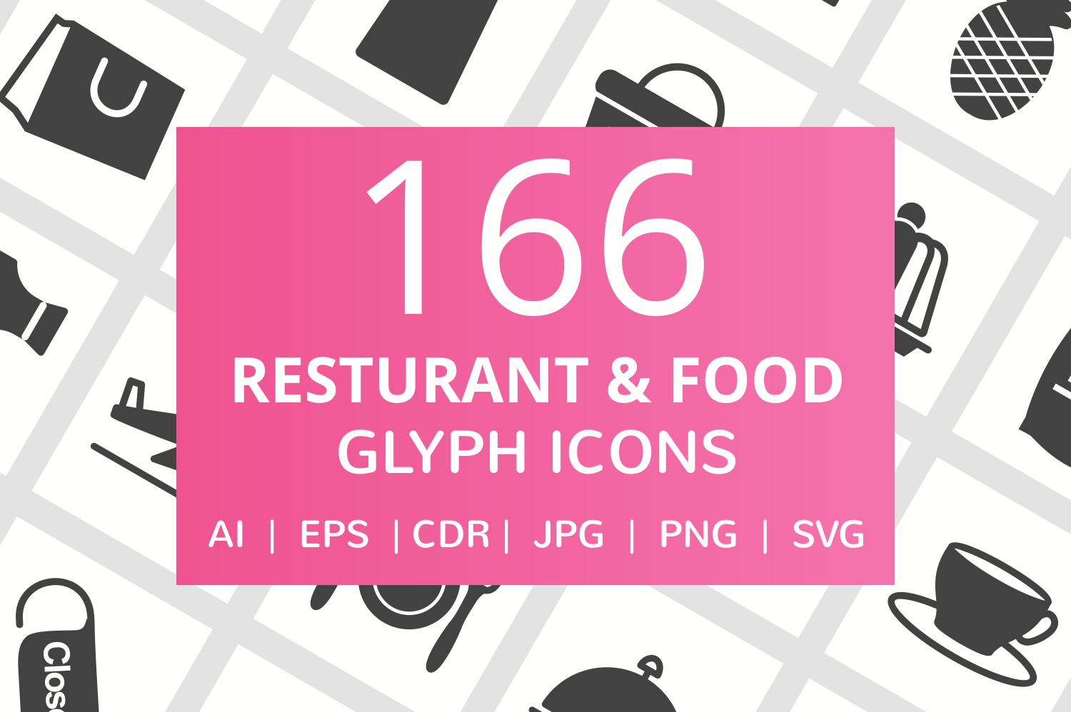 166 Restaurant & Food Glyph Icons example image 1