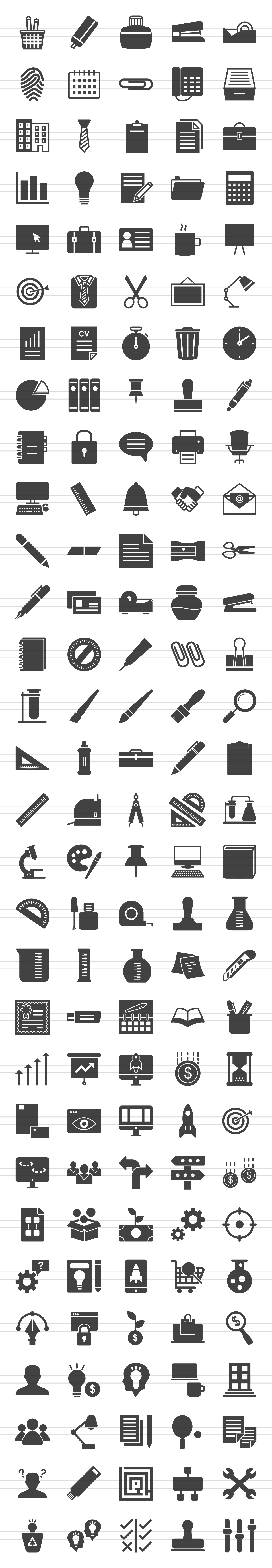 150 Office & Stationery Glyph Icons example image 2