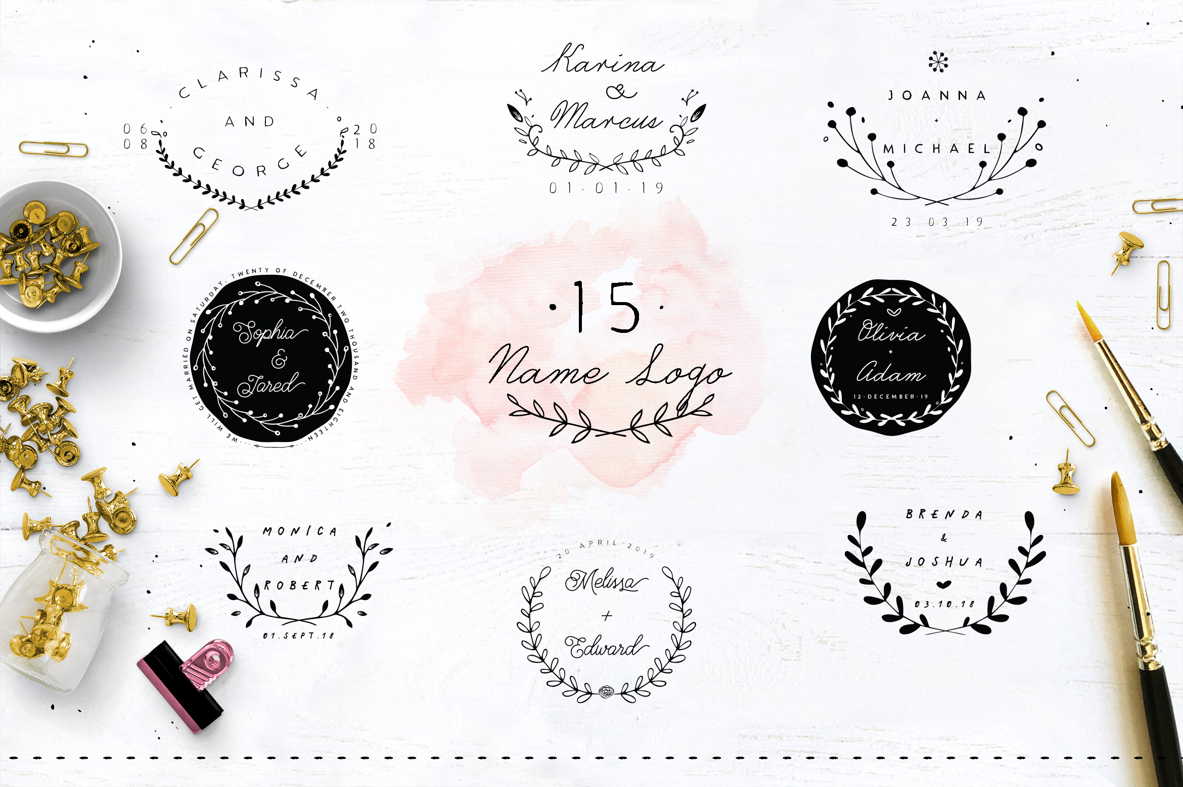 30 Save the Date Wreath Logo example image 4