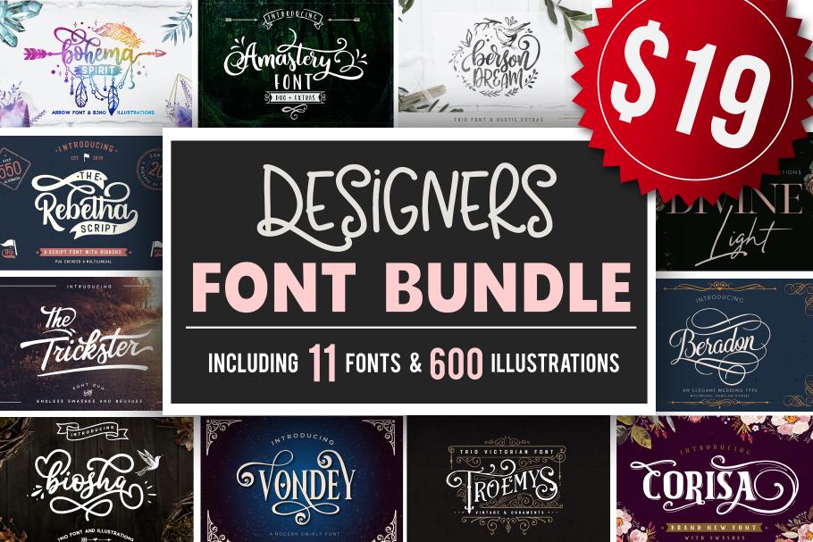 Designers font Bundle 11 Fonts example image 1
