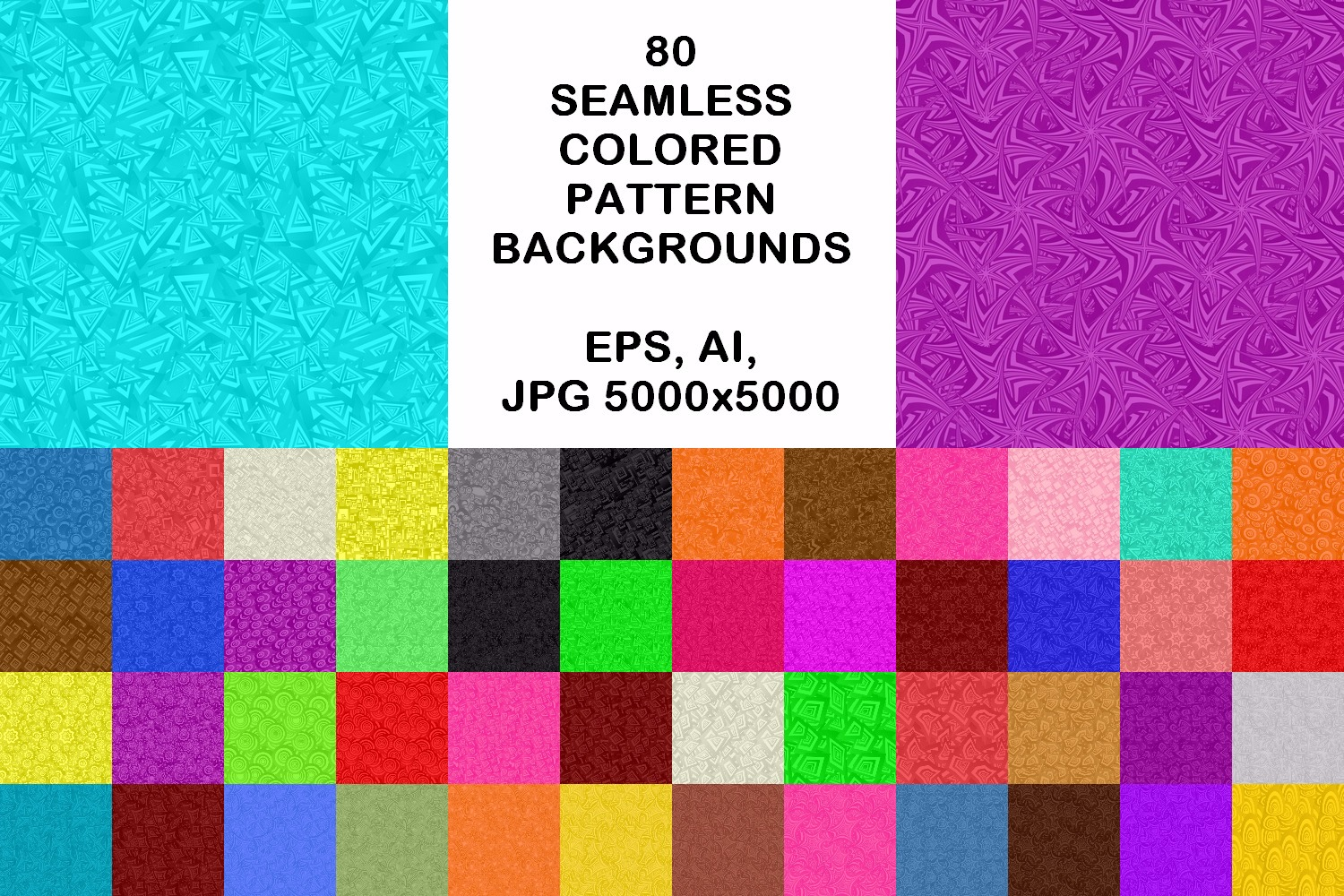 80 seamless pattern backgrounds - AI, EPS, JPG 5000x5000 example image 1