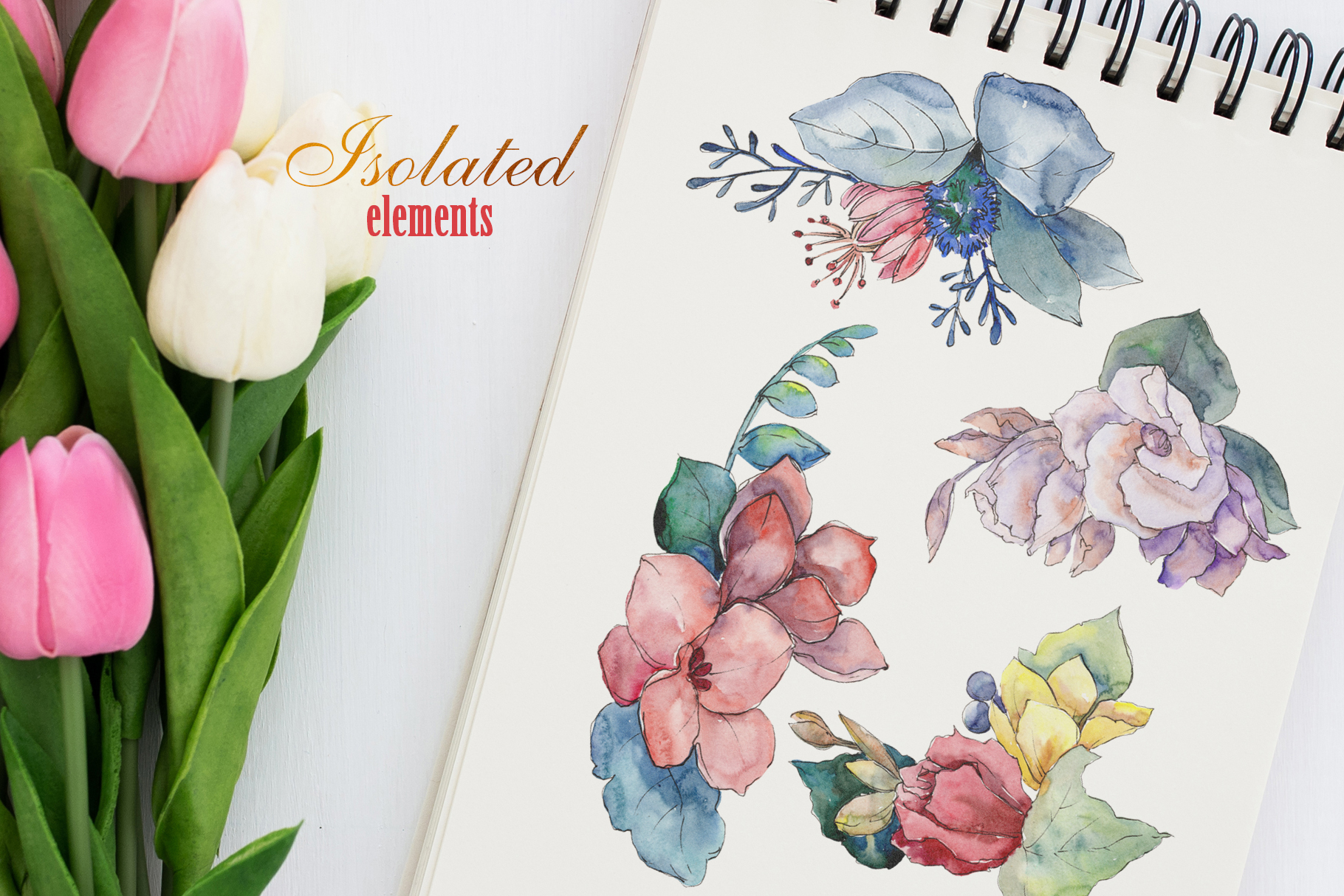 Bouquet gifts of nature watercolor png example image 7