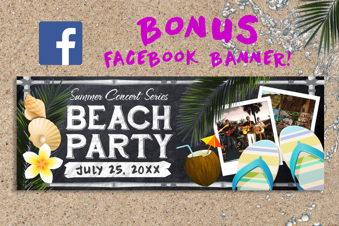 Chalk Summer Beach Party Flyer example image 3
