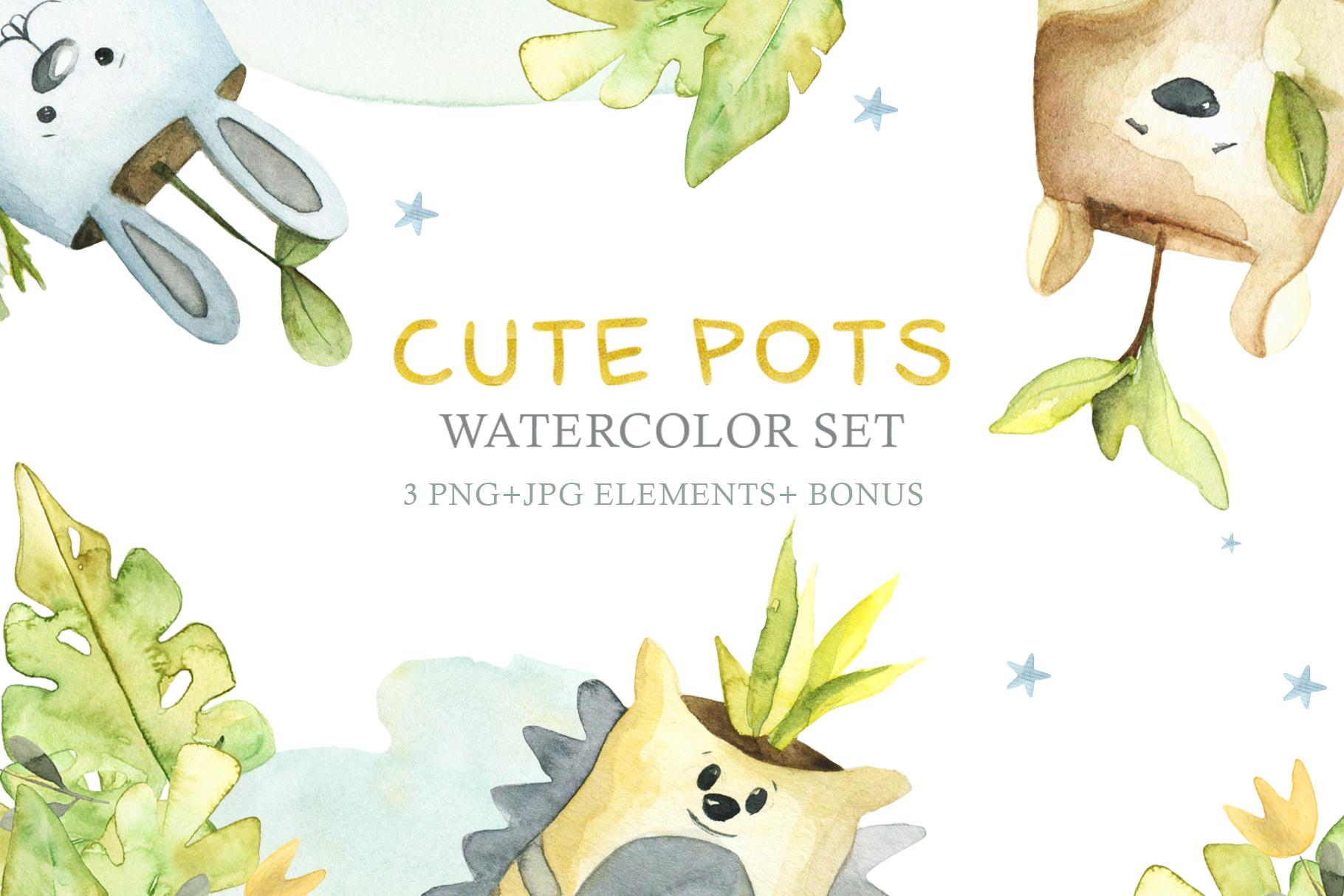 Watercolor Set Cute Pots example image 1
