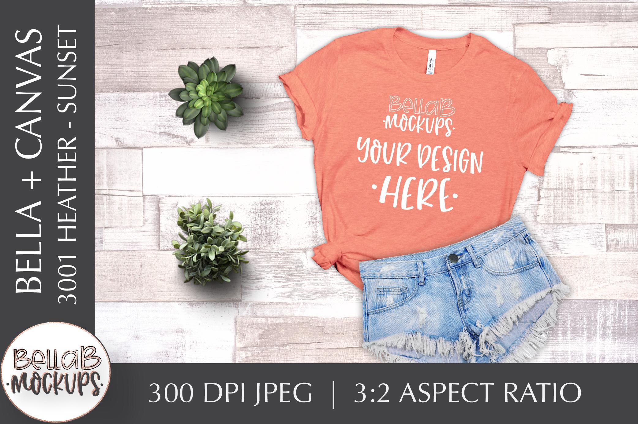 Bella Canvas T Shirt Mockup Bundle, Heather 3001, Summer example image 8