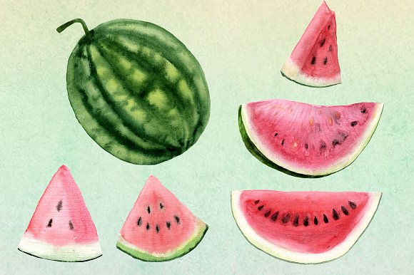 Watercolor Watermelon Clip Art example image 2