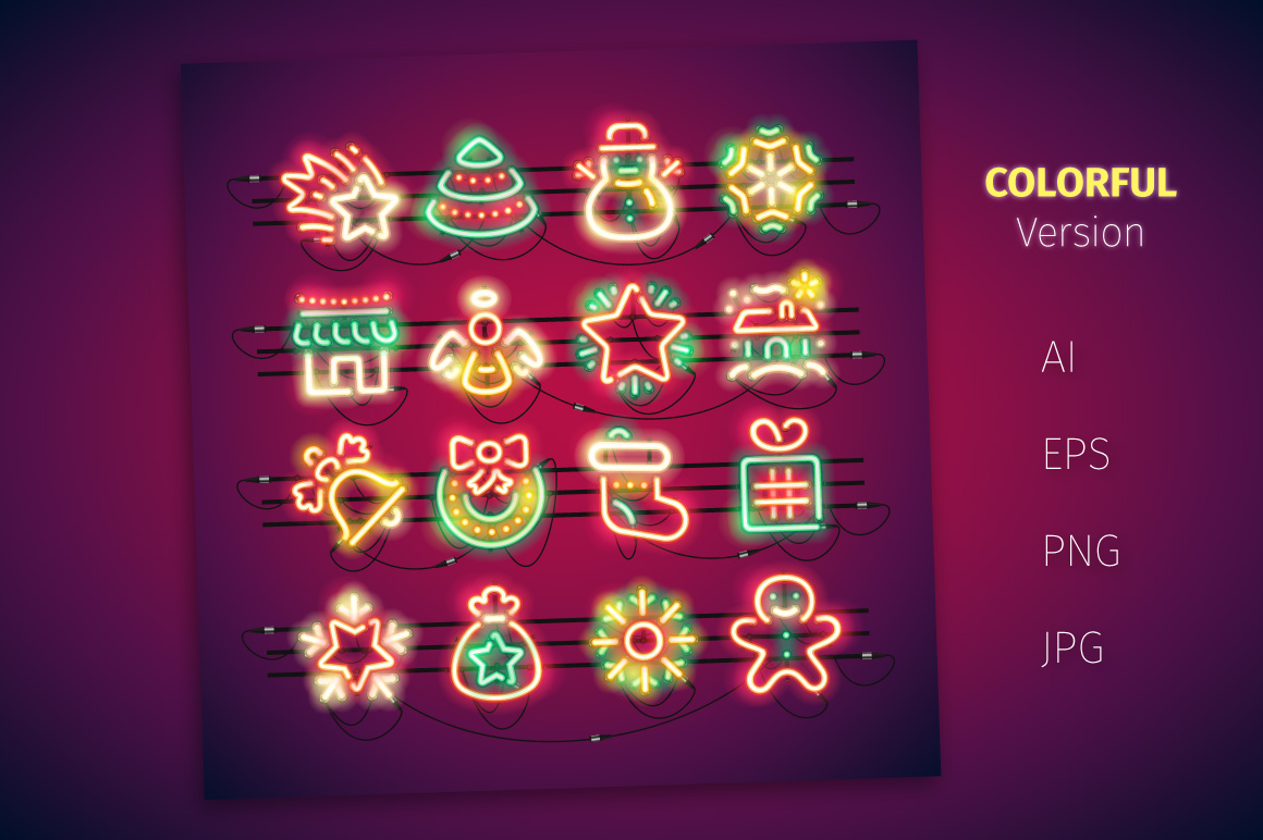 Christmas Colorful Neon Icons example image 2
