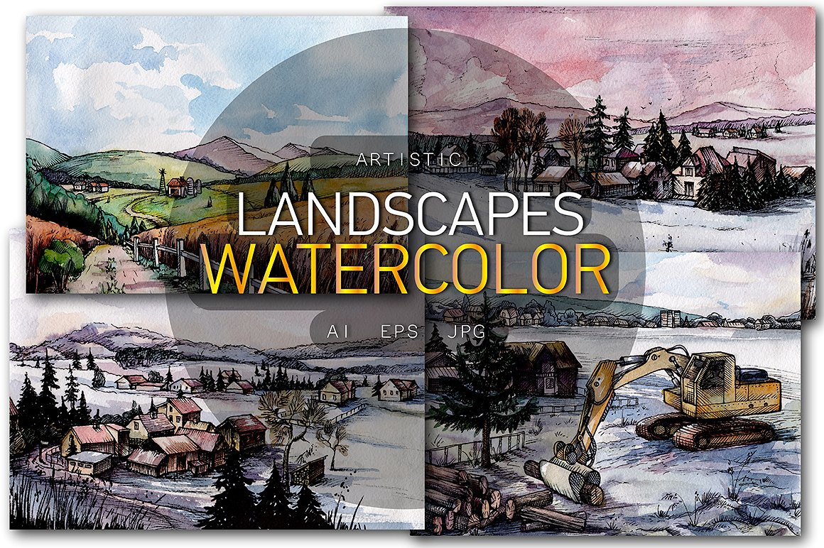 Countryside Watercolor Landscapes example image 1