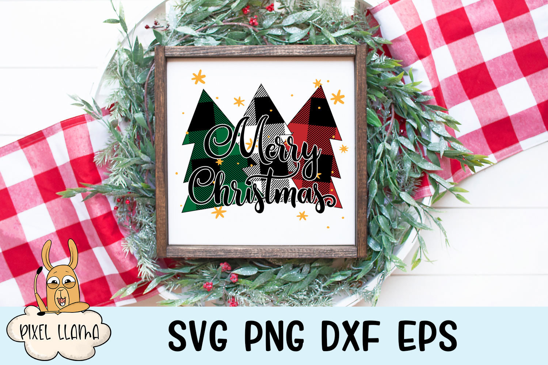 Merry Christmas Plaid Trees SVG example image 3