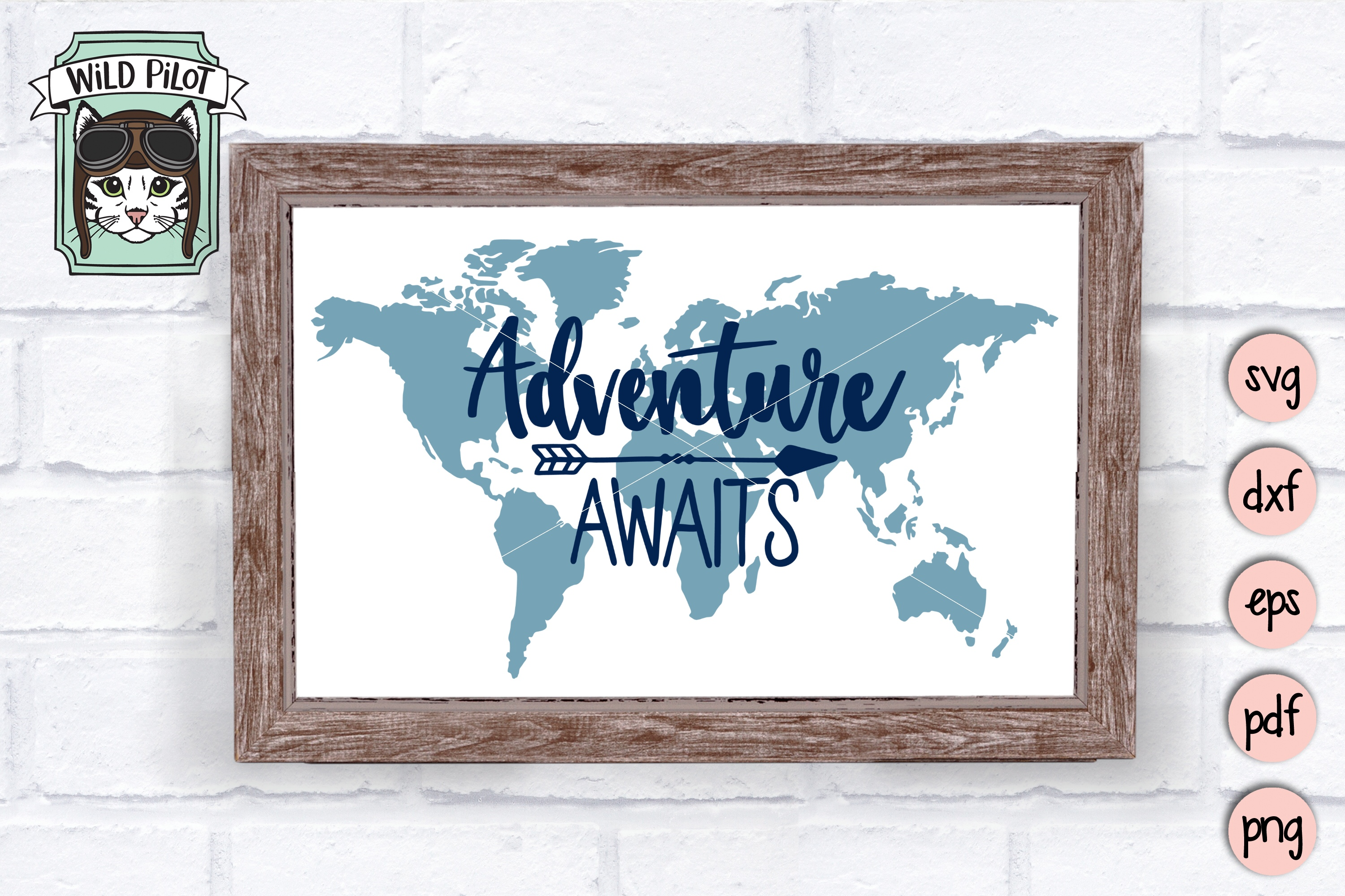 Adventure Awaits SVG file, World Map SVG, Travel cut file example image 2