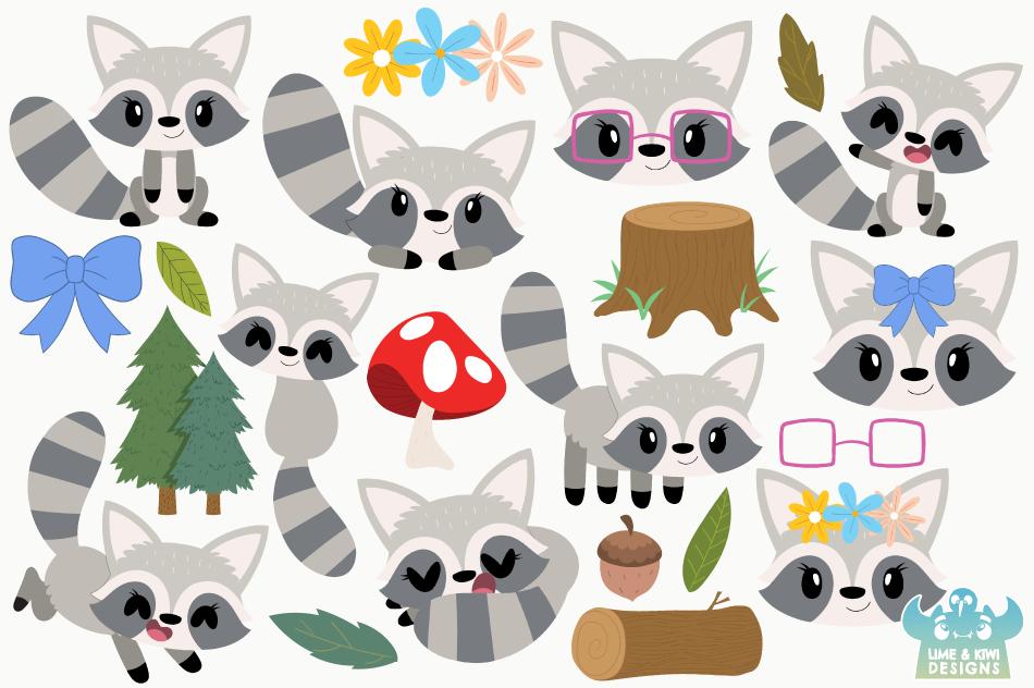 Raccoon Girls Clipart, Instant Download Vector Art example image 2