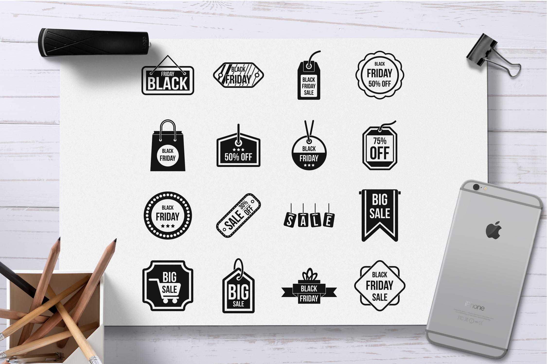 Black Friday icons set, simple style example image 2