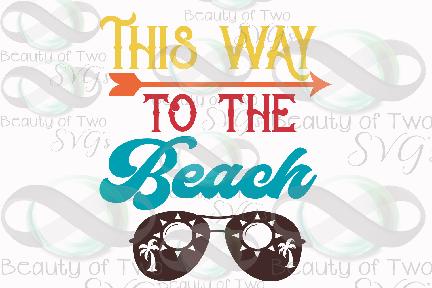 Sunglasses svg, This way to the beach svg and png, beach svg example image 3