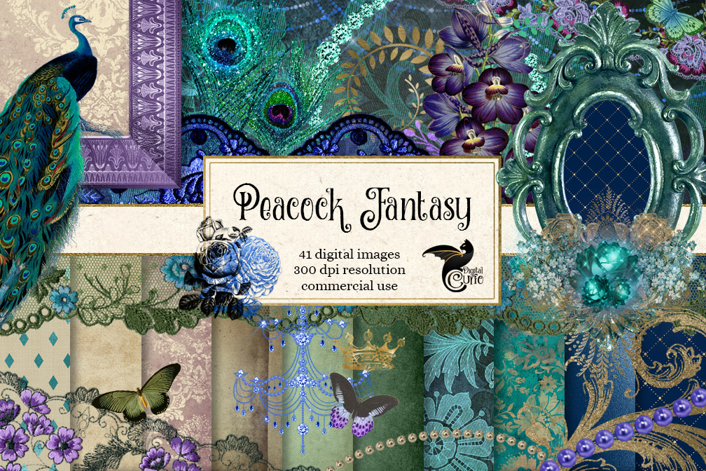 Peacock Fantasy Digital Scrapbooking Kit example image 1