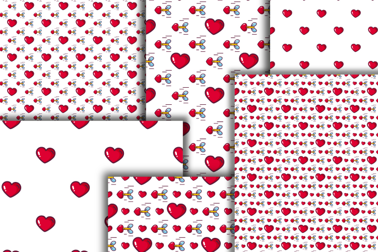 Hearts digital paper. Valentine's day seamless patterns example image 2