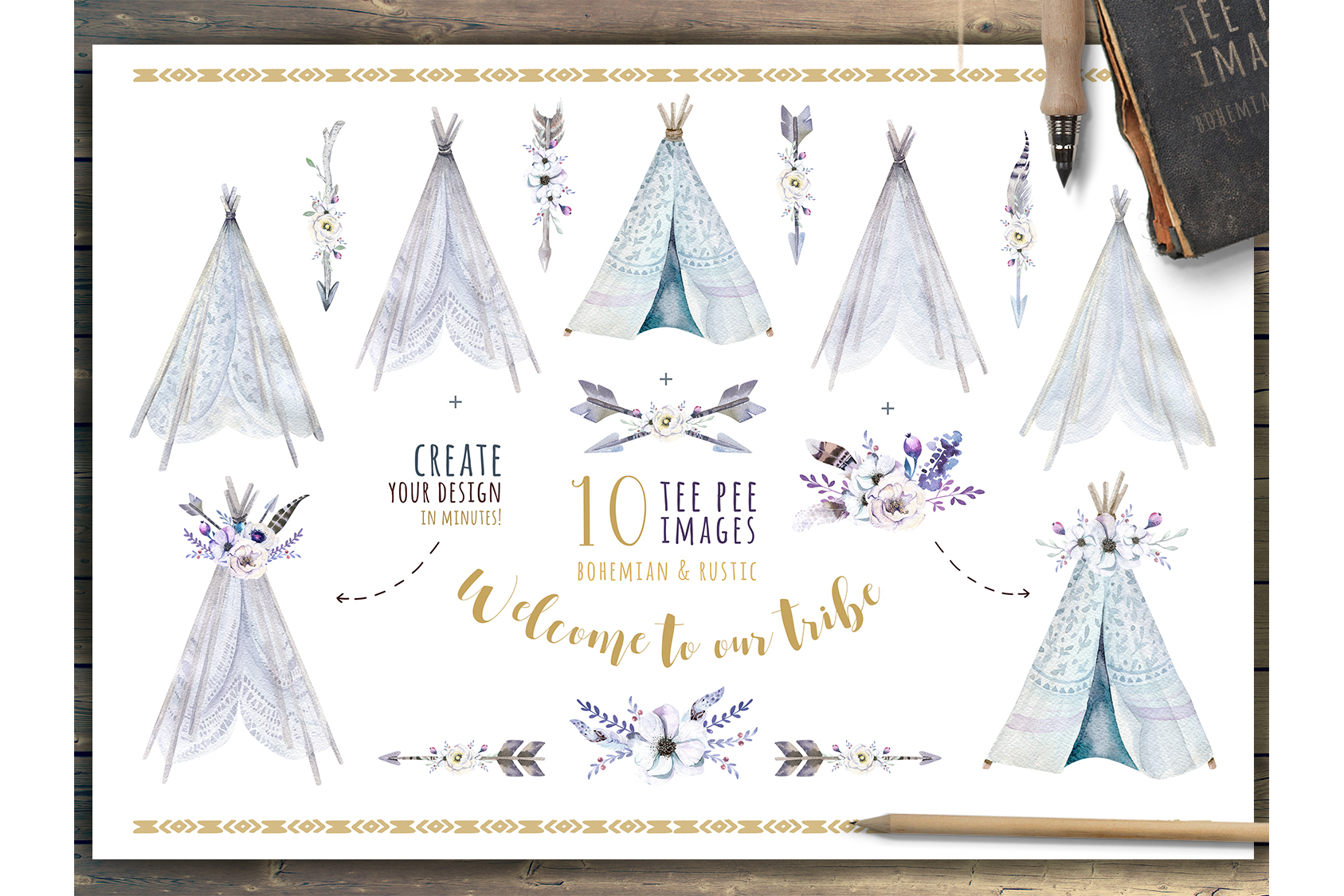 Watercolor bohemian teepee & pattern example image 3