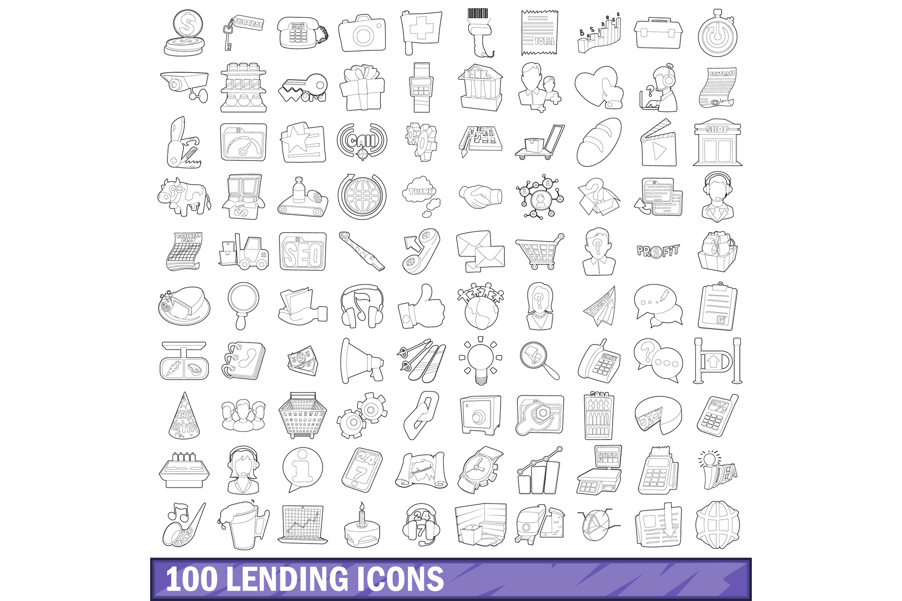 100 lending icons set, outline style example image 1