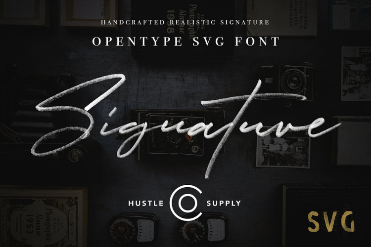 JV Signature SVG - Opentype SVG FONT example image 1