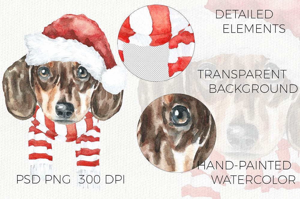 Christmas Animal Creator.Watercolor Dogs & Cats example image 5