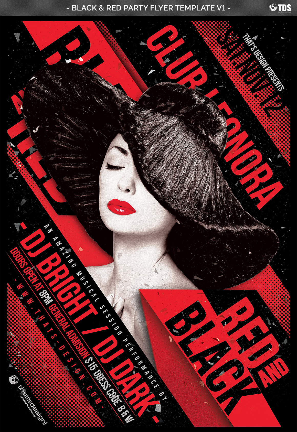 Black and Red Party Flyer Template V1 example image 4
