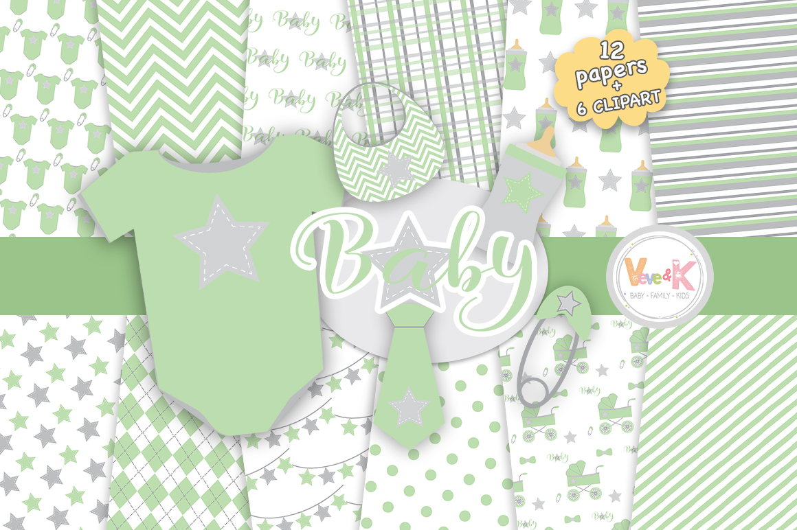 Green Baby Digital Papers And Clipart S Design Bundles