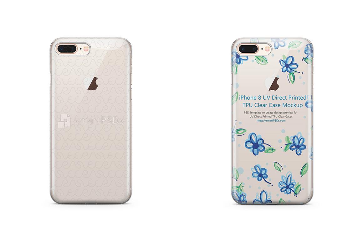 Apple iPhone 8 Plus - UV PC Clear Mobile Case Design Mockup example image 1