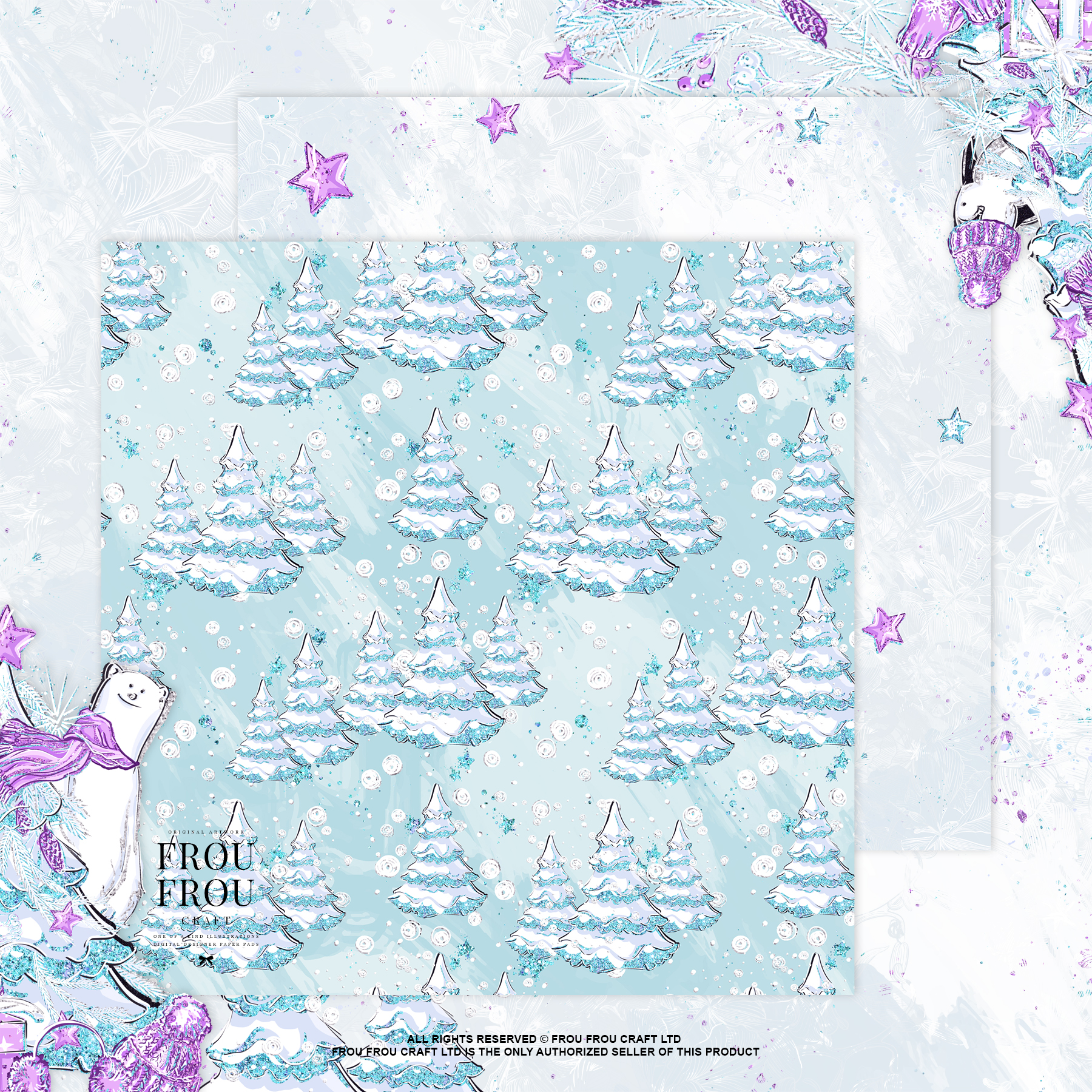 Winter Christmas Tree Penguin Bear Paper Pack example image 8