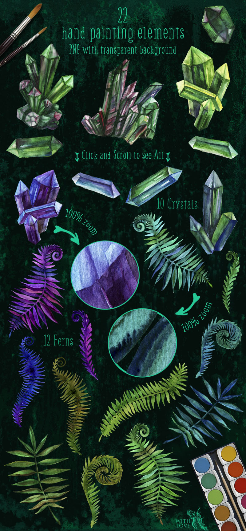 Emerald Crystals Watercolor Set example image 2