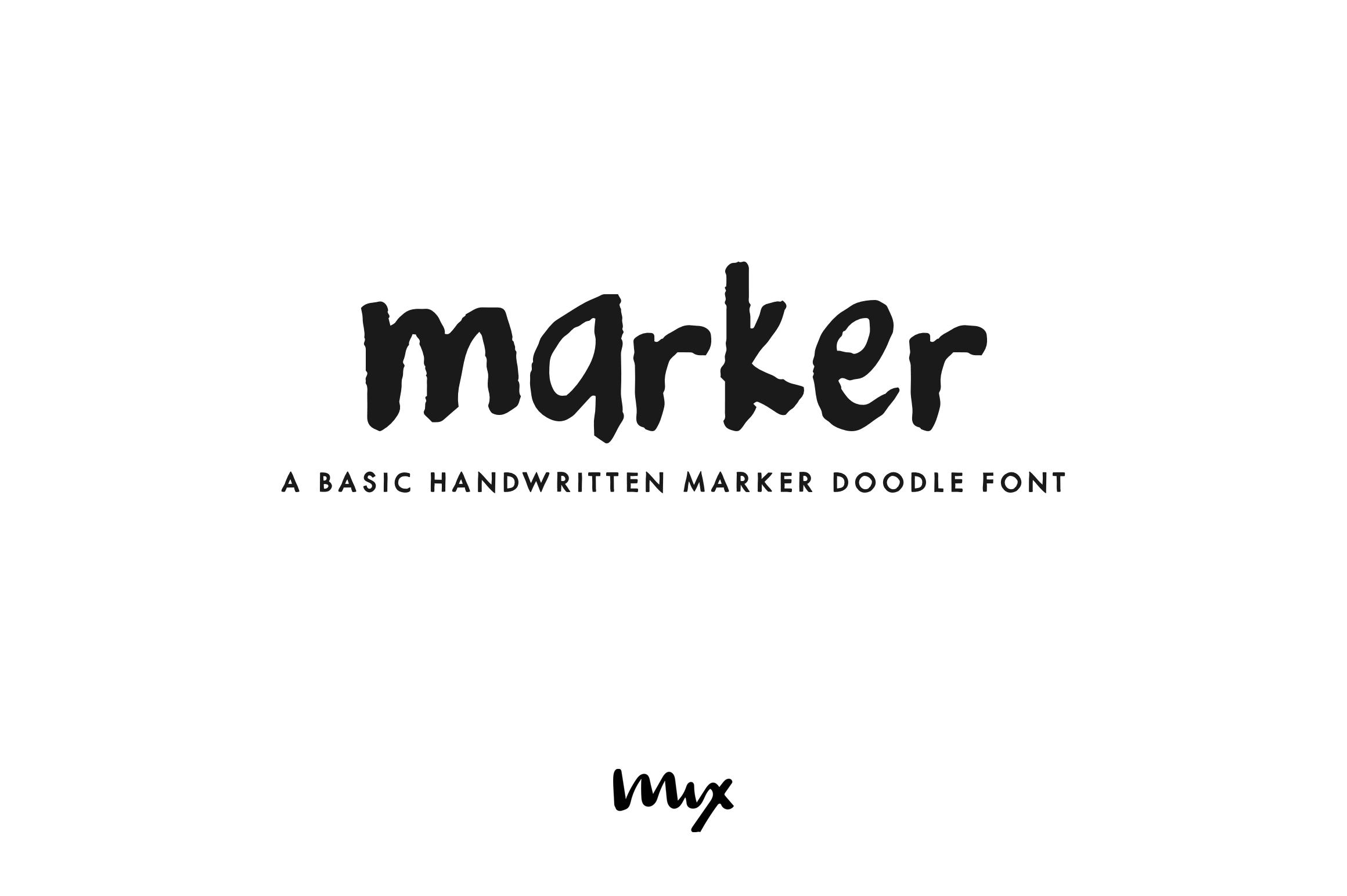 Marker - a basic handwritten marker doodle font example image 1