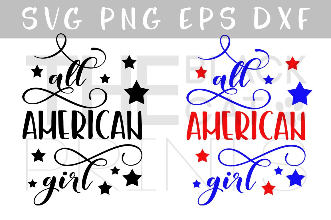 All American girl SVG PNG EPS DXF, Stars svg design example image 1