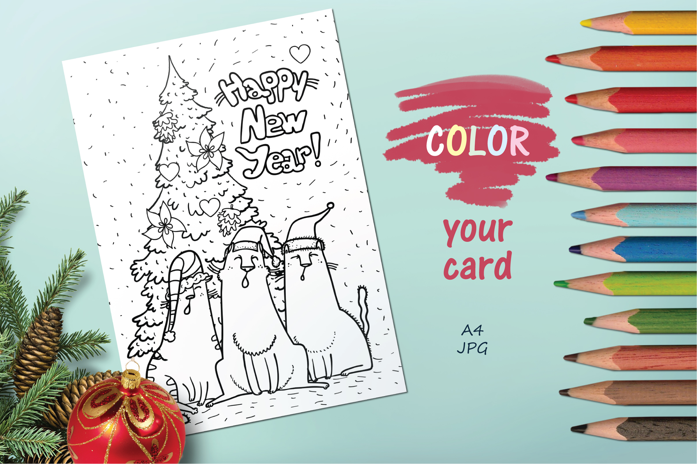 Xmas Cats clip-art, patterns, cards example image 9