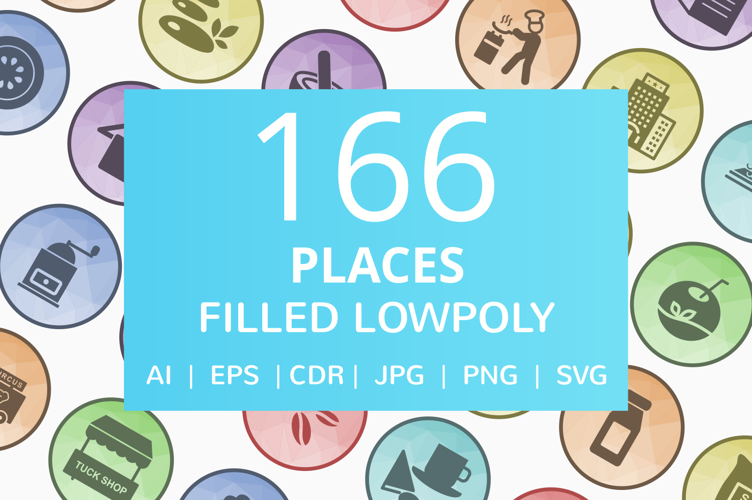 166 Places Filled Low Poly Icons example image 1